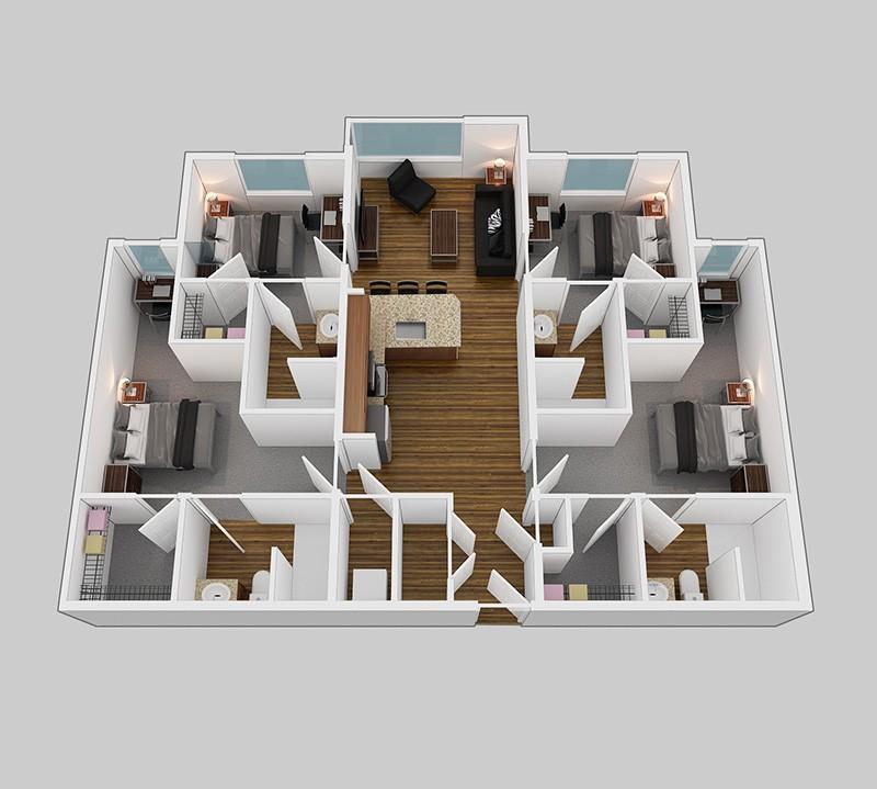 Park Place BRAND NEW APARTMENT: 4 Bedroom, 4 Bath